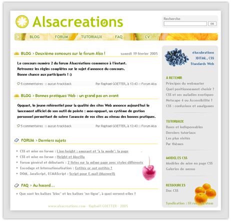 Interface Alsacreations
